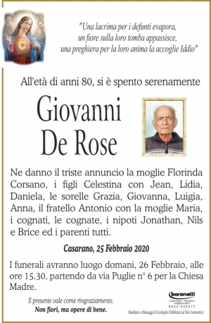 GIOVANNI DE ROSE